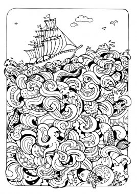 coloring page with boat and the sea