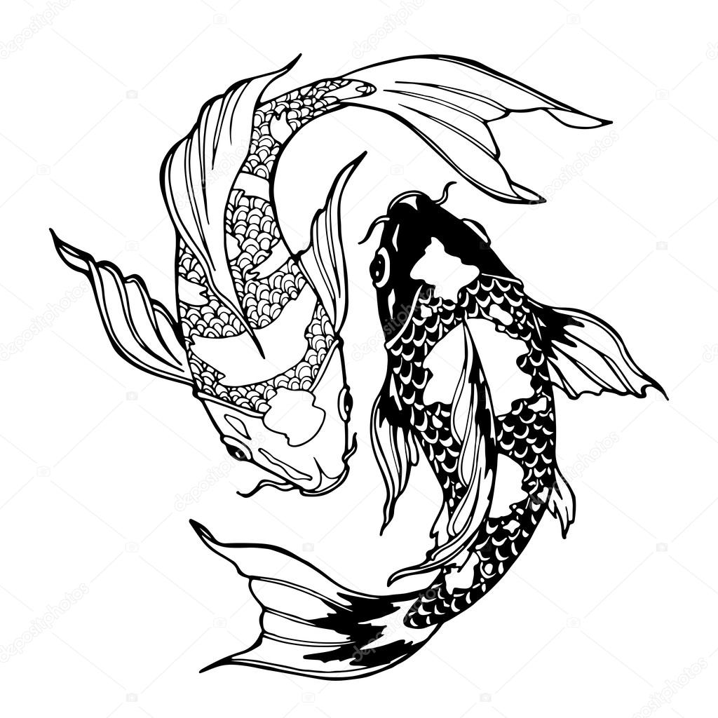 Hunting Tattoo Designs Outlines Wiring Diagrams How To Build Circuit Diagram Using Zvp2106 2n3906 2n2907 Koi Fish Ying Yang Symbol Stock Photo U00a9 Xaxalerik 98710620 And Boat