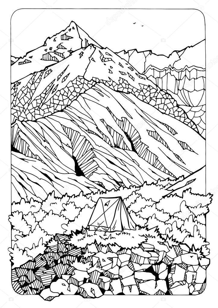 Página para colorear con las montañas — Foto de stock © Xaxalerik ...
