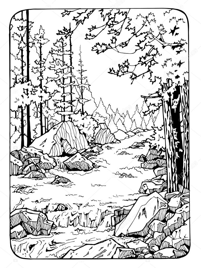 coloring page with river and the wood