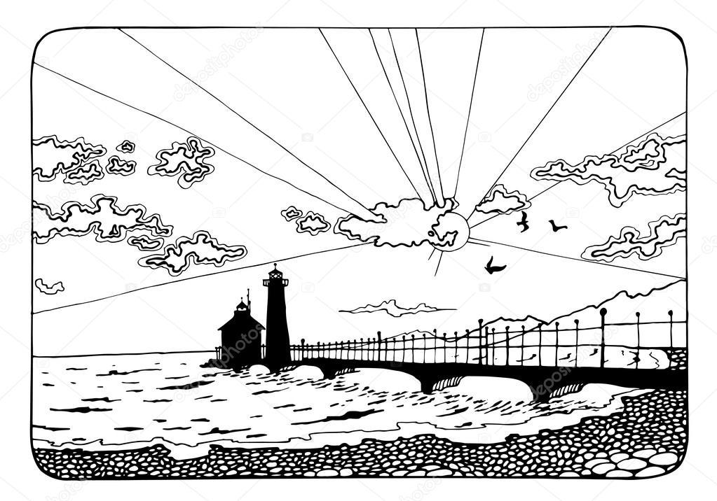 colorear página con puesta de sol y el mar — Foto de stock ...