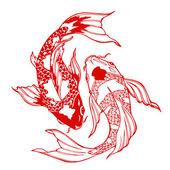 Photo koi fish; ying yang symbol