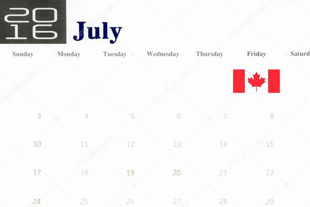 Canada flag over first of july on calendar 2016