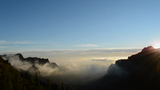 Sunset on the mountain. Waterfalls clouds south of the island Gran Canaria 'point . natural landscapes