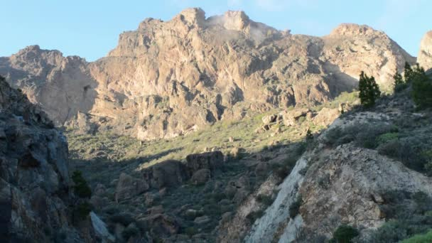 Mountain with clouds at the top. Video- landscape Gran Canaria.
