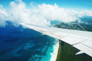 Aerial view from the plane over Punta Cana, Dominican Republic