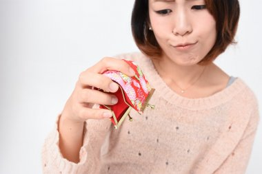 Japanese woman with empty purse