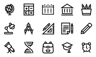 School line icon set.