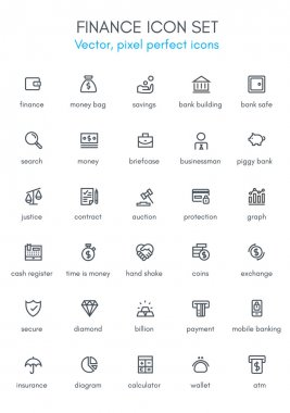 Finance theme line icon set