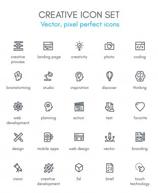 Creative package line icon set.