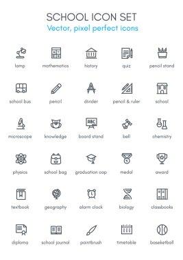 School theme line icon set