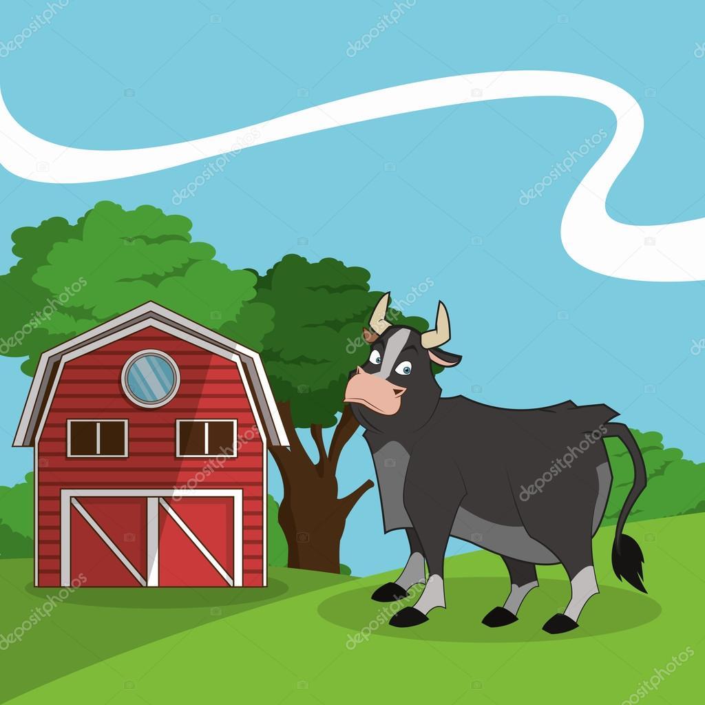 Personaggio dei cartoni animati contadino con mucca da latte in