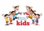 Kreslený šťastné děti, vektorové ilustrace