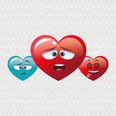Flat illustration of cartoon face design, heart shape and love c