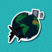Cestování s letadlem, upravitelné vektorové ilustrace
