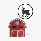 Farma konstrukce. zvířecí ikona. charakter koncepce, vektorové ilustrace
