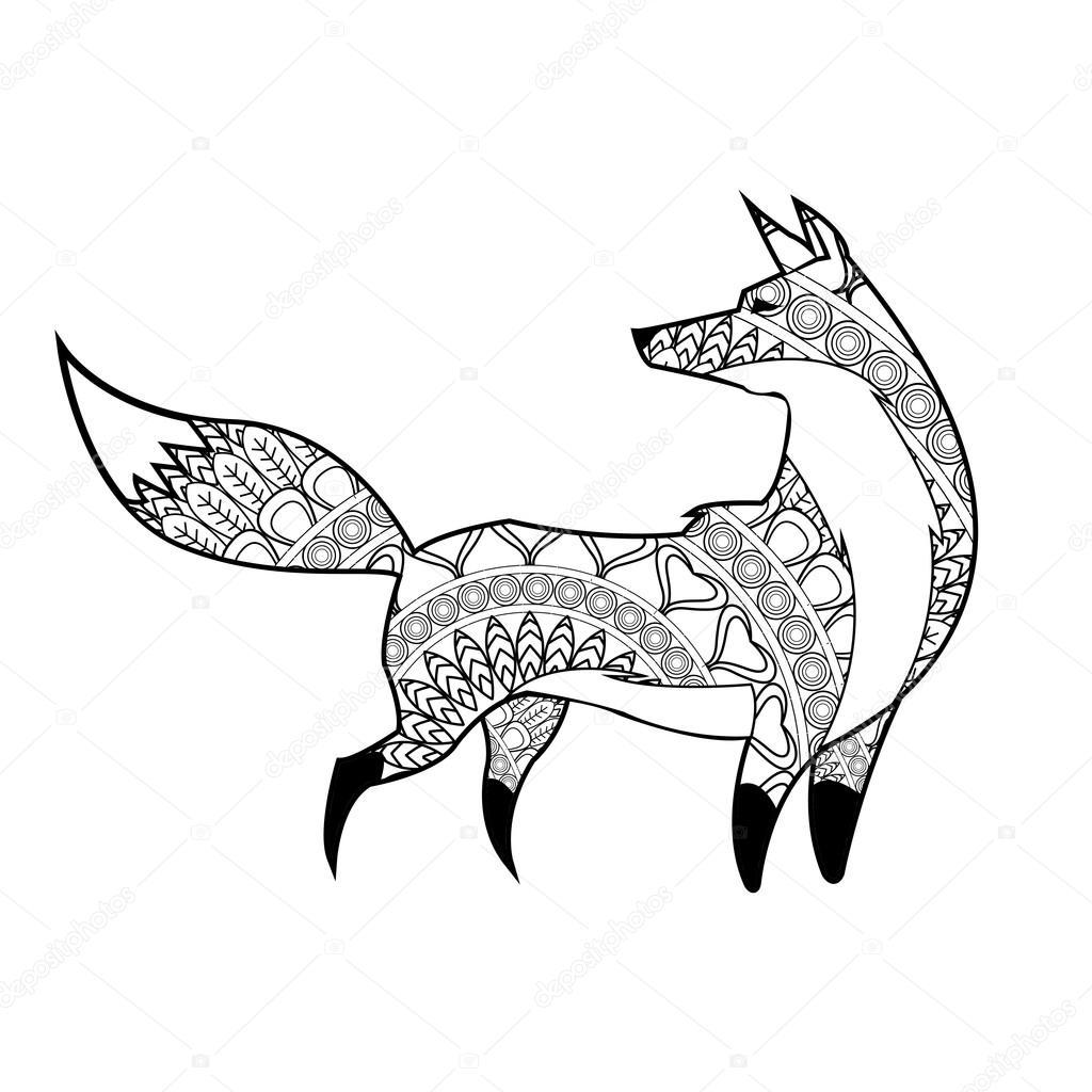 動物のデザイン大人のぬりえのコンセプトです白背景 ストック