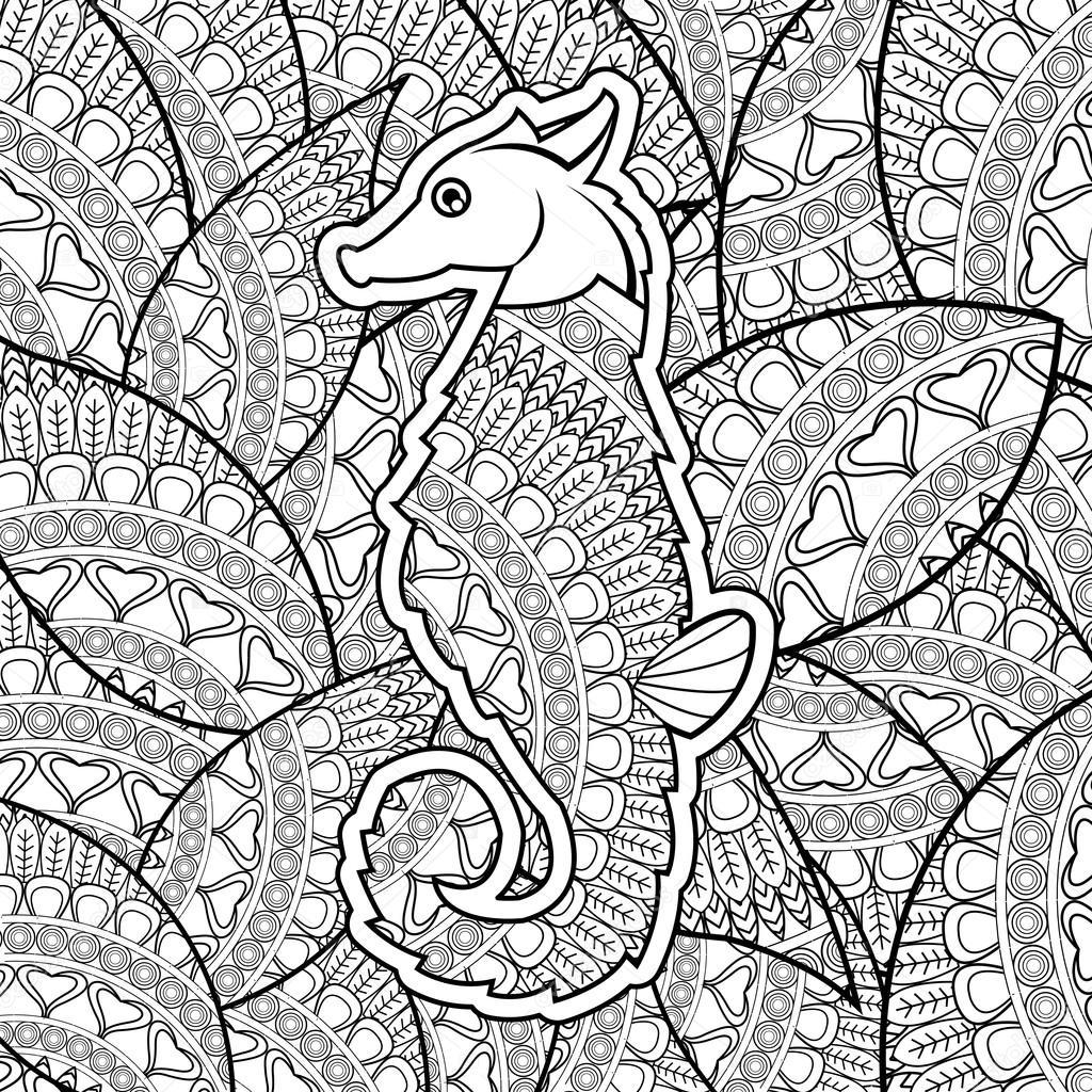 Diseño de los animales. Concepto de adulto para colorear. fondo ...