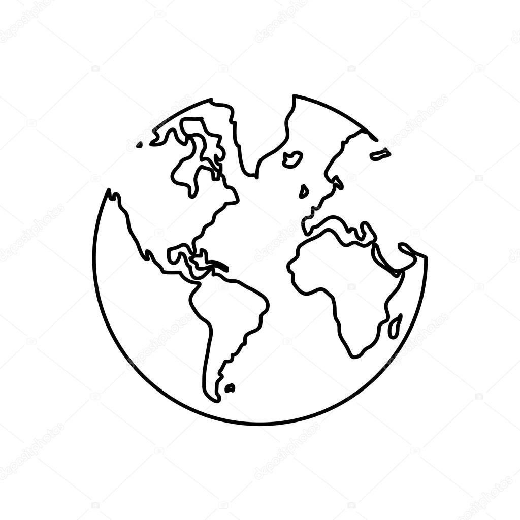 Black Line Earth Globe , Vector Illustration Over White Background U2014 Stock  Vector