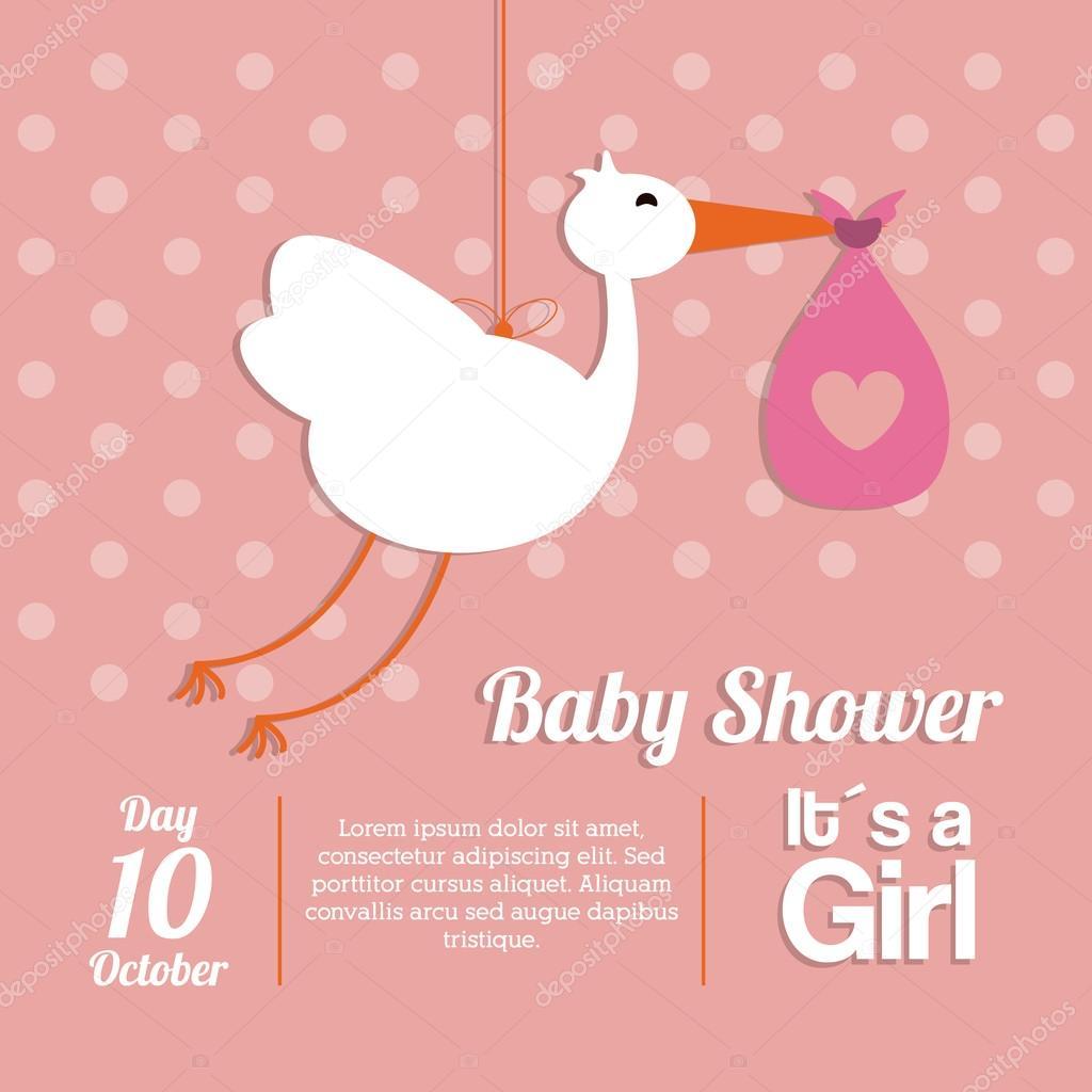 Invitacion Baby Shower Cigueña Diseño De Ducha Del Bebé Icono De
