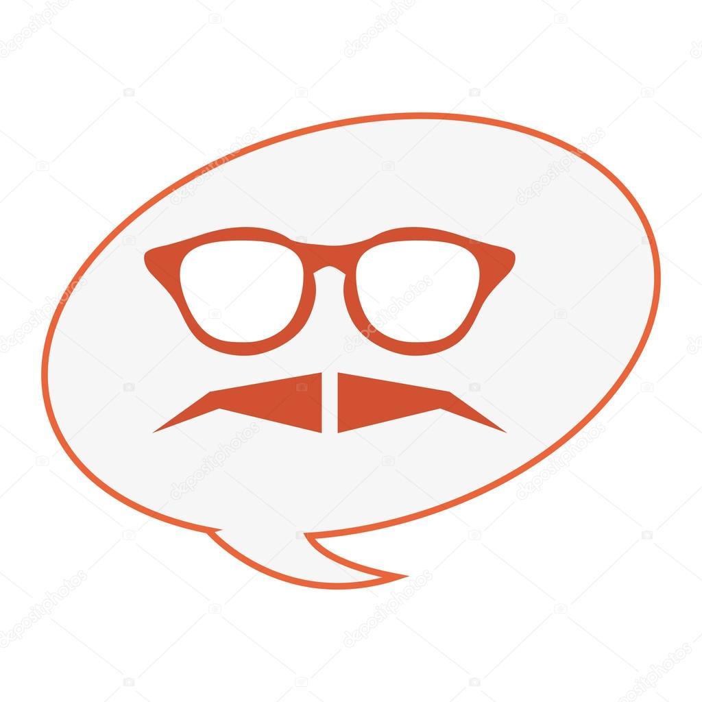 Rahmen Gläser mit Schnurrbart und Gespräch Blase — Stockvektor ...