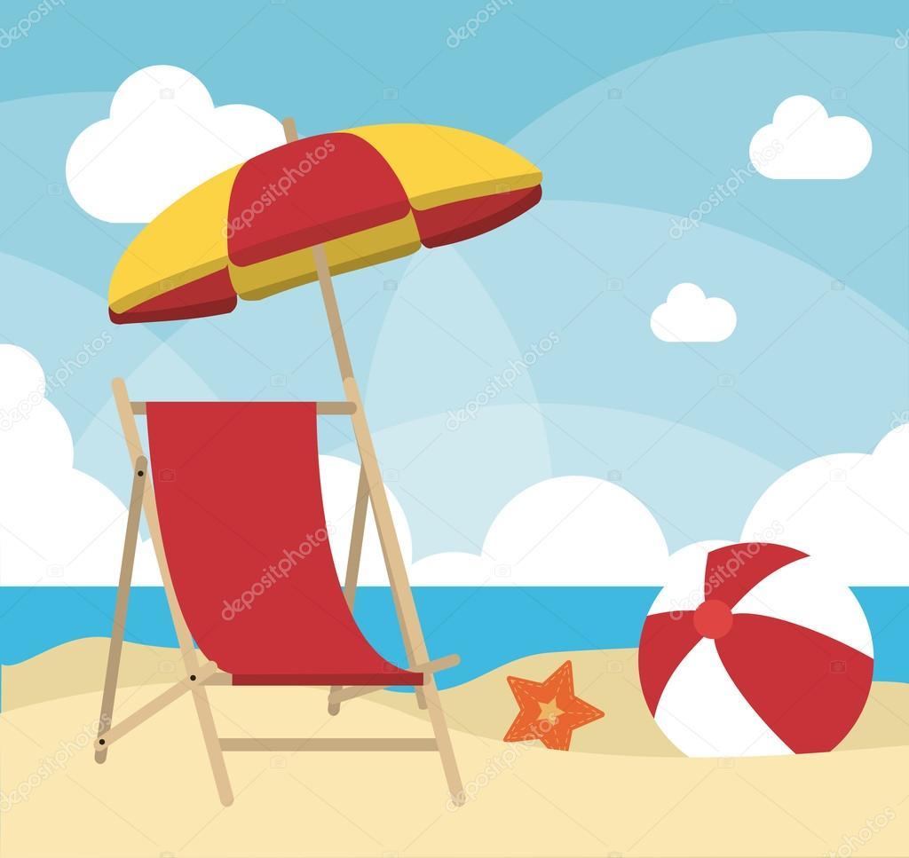 Disegno di estate icona di ombrellone e una sdraio for Disegni da camera da spiaggia
