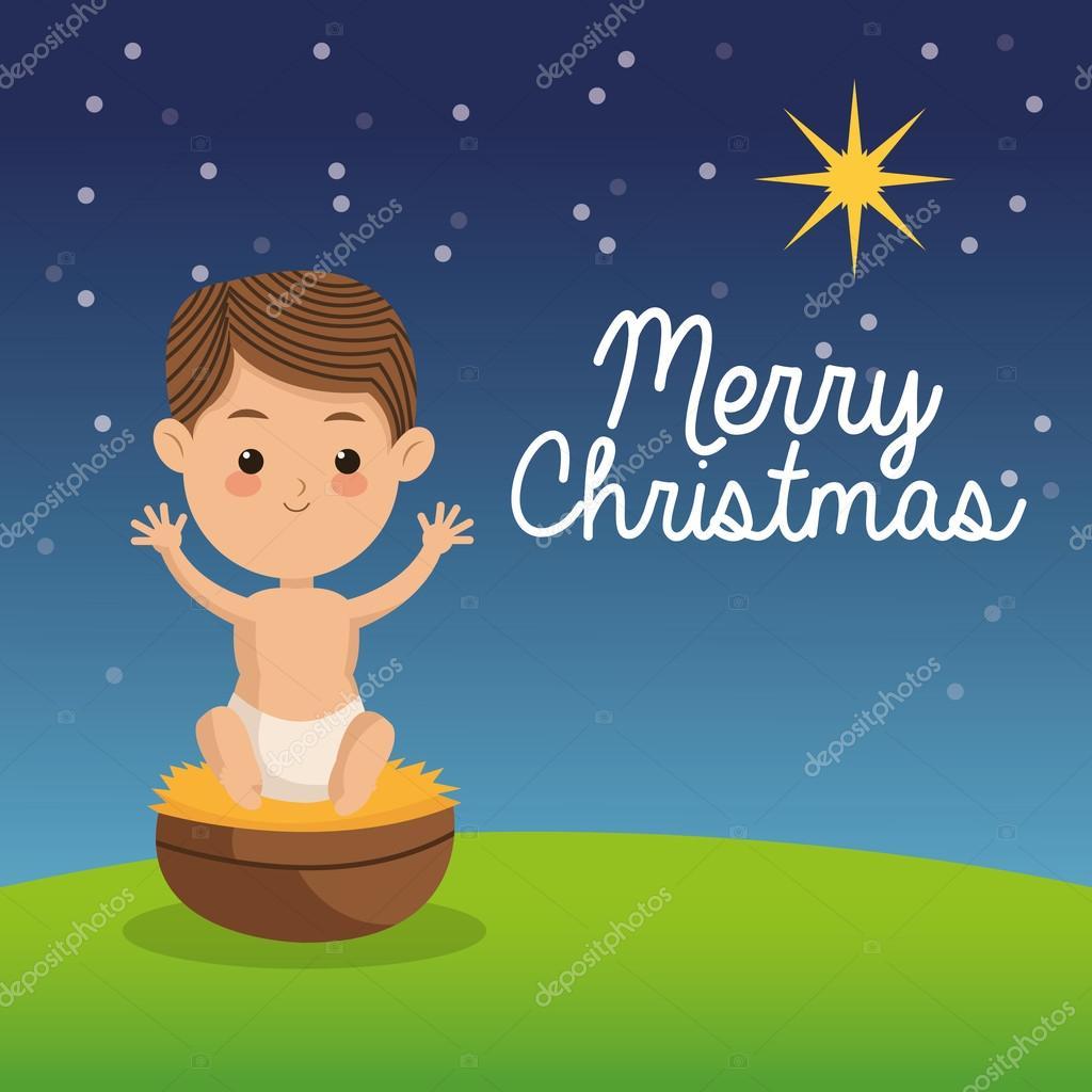 Baby Jesus icon. Merry Christmas design. Vector graphic — Stock ...