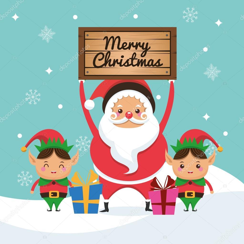 Pere Noel Et Lutin Icone De Dessin Anime Joyeux Noel Illustration