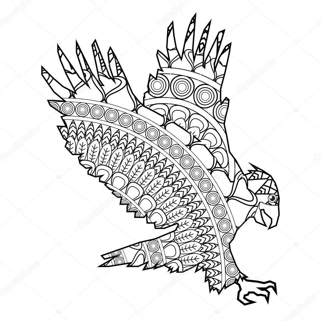 animales para colorear de icono de águila — Vector de stock ...