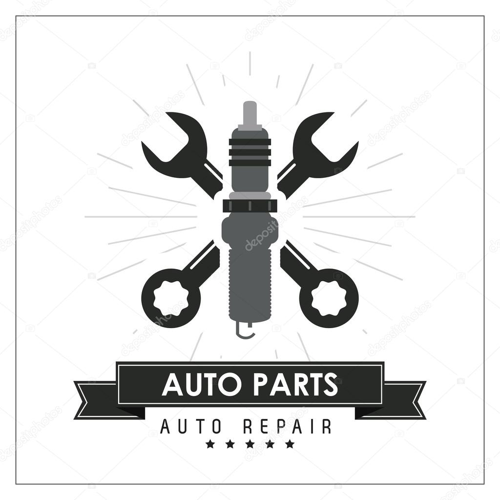 Schraubenschlüssel-Symbol. Auto-Rahmen-Design. Vektorgrafik ...