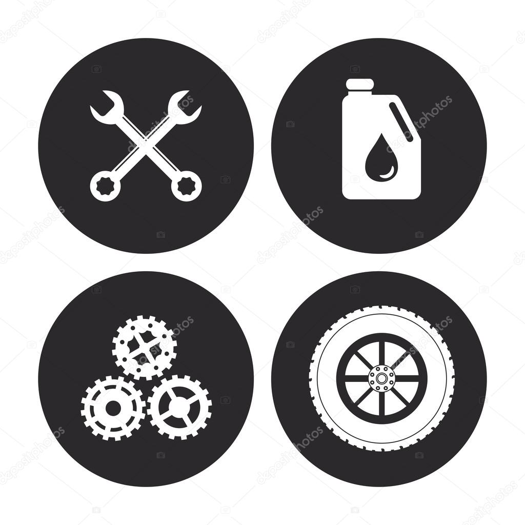 Maschine-Icon-Set. Auto-Rahmen-Design. Vektorgrafik — Stockvektor ...