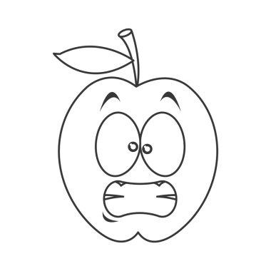 stressed apple cartoon icon