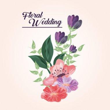 Painting flower icon. Floral wedding design. Vector graphic