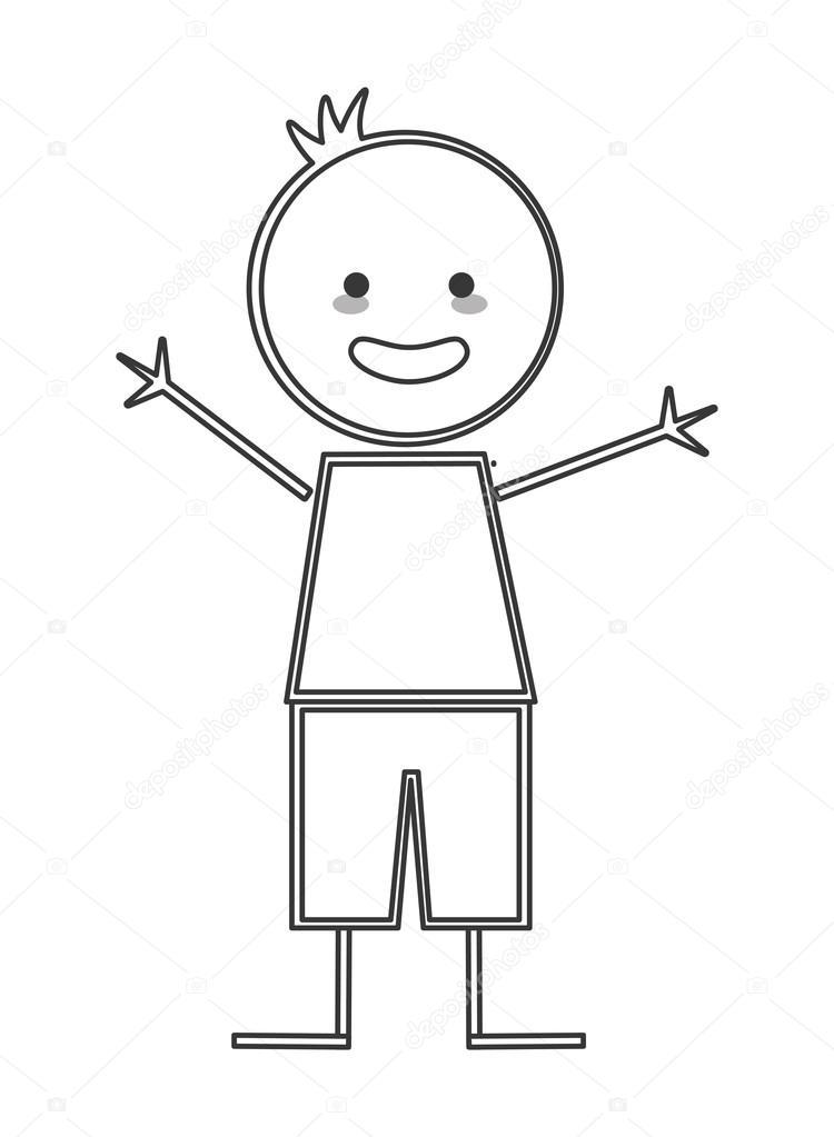 Bonhomme Allumette garçon heureux avec les bras ouverts icône bonhomme allumette