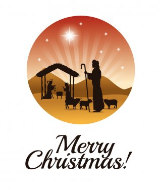 Joseph, maria and jesus icon. Merry Christmas design. Vector gra