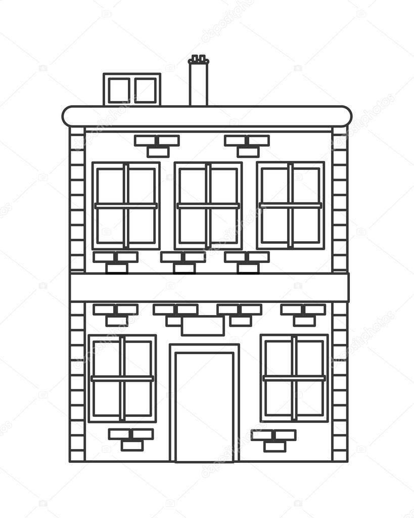 einzelne Ziegel-Gebäude-Symbol — Stockvektor © jemastock #118298356