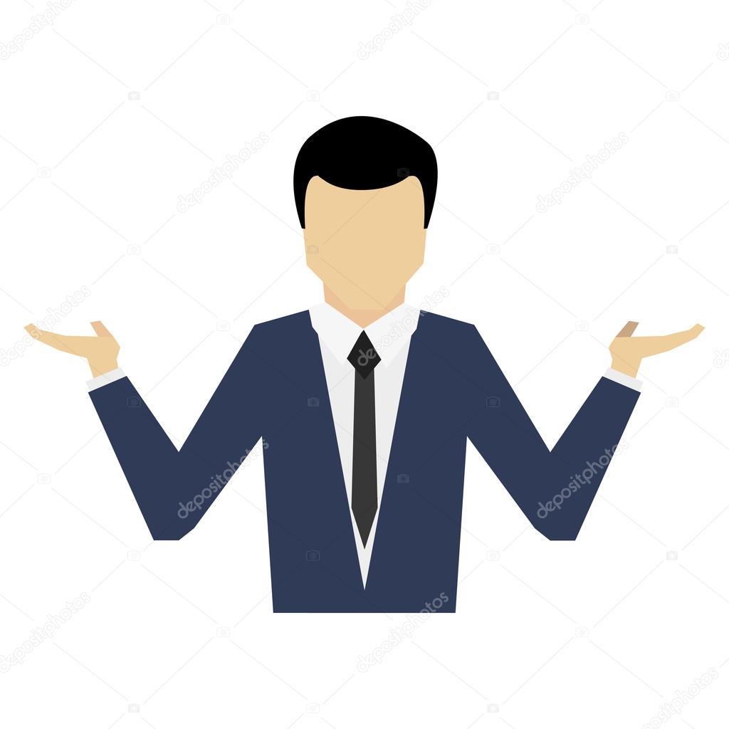 Businessman open hands icon– stock illustration