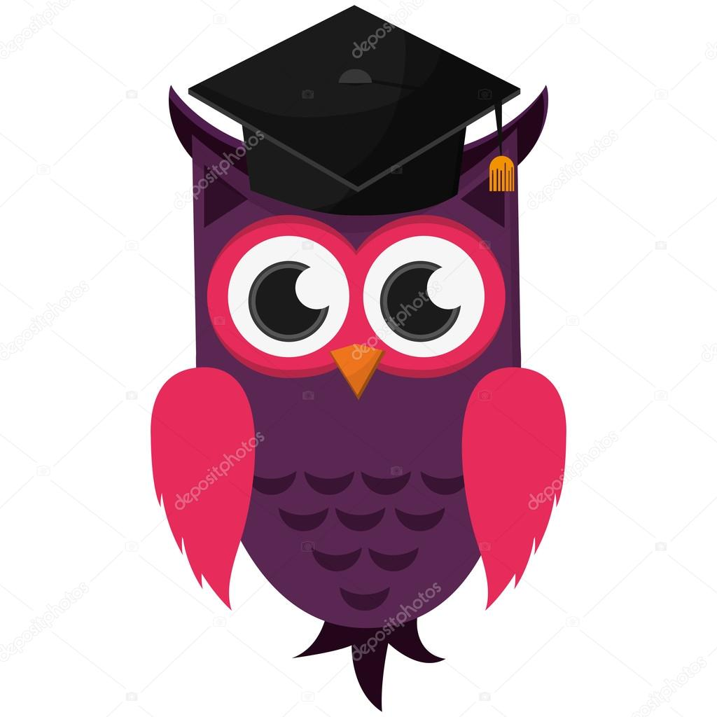 Eule Comic Mit Graduation Cap Symbol Stockvektor Jemastock