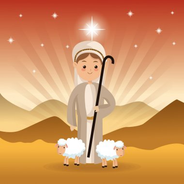 Shepherd and sheeps icon. Merry Christmas design. Vector graphic