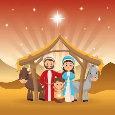 holy family icon. Merry Christmas design. Vector graphic