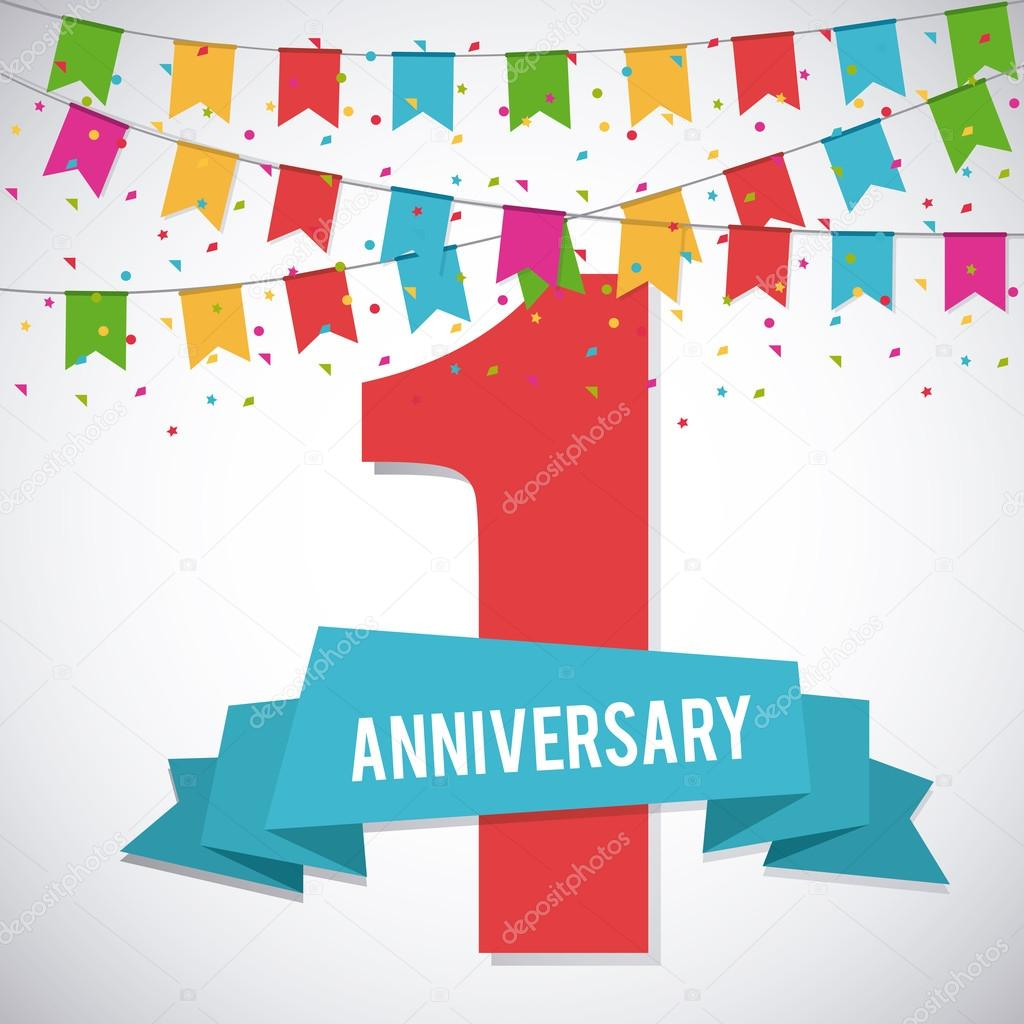 1 Year Celebrating Anniversary Vector Graphic Stock