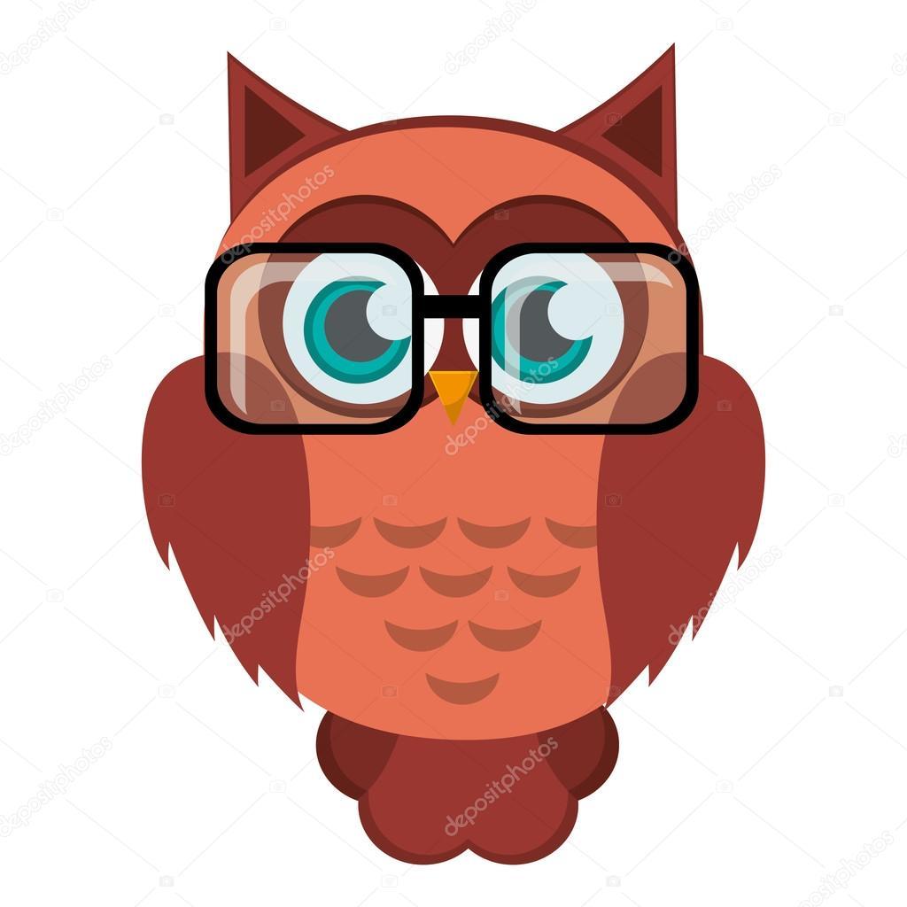 Owl Cartoon Wearing Glasses Icon Stock Vector C Jemastock 118736650
