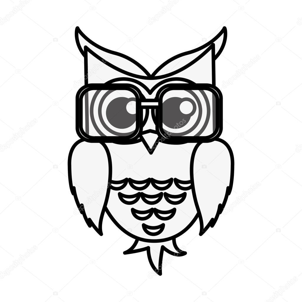 Cara Buho Dibujo Icono De Gafas Usar Búho Dibujos Animados