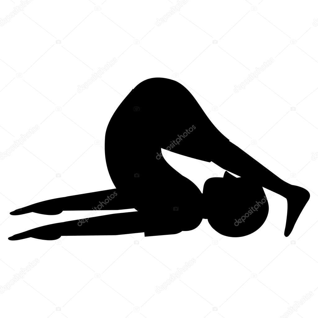 Man In Yoga Pose Silhouette Icon Stock Vector