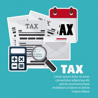 Document and calculator icon. Tax and Financial item. Vector gra