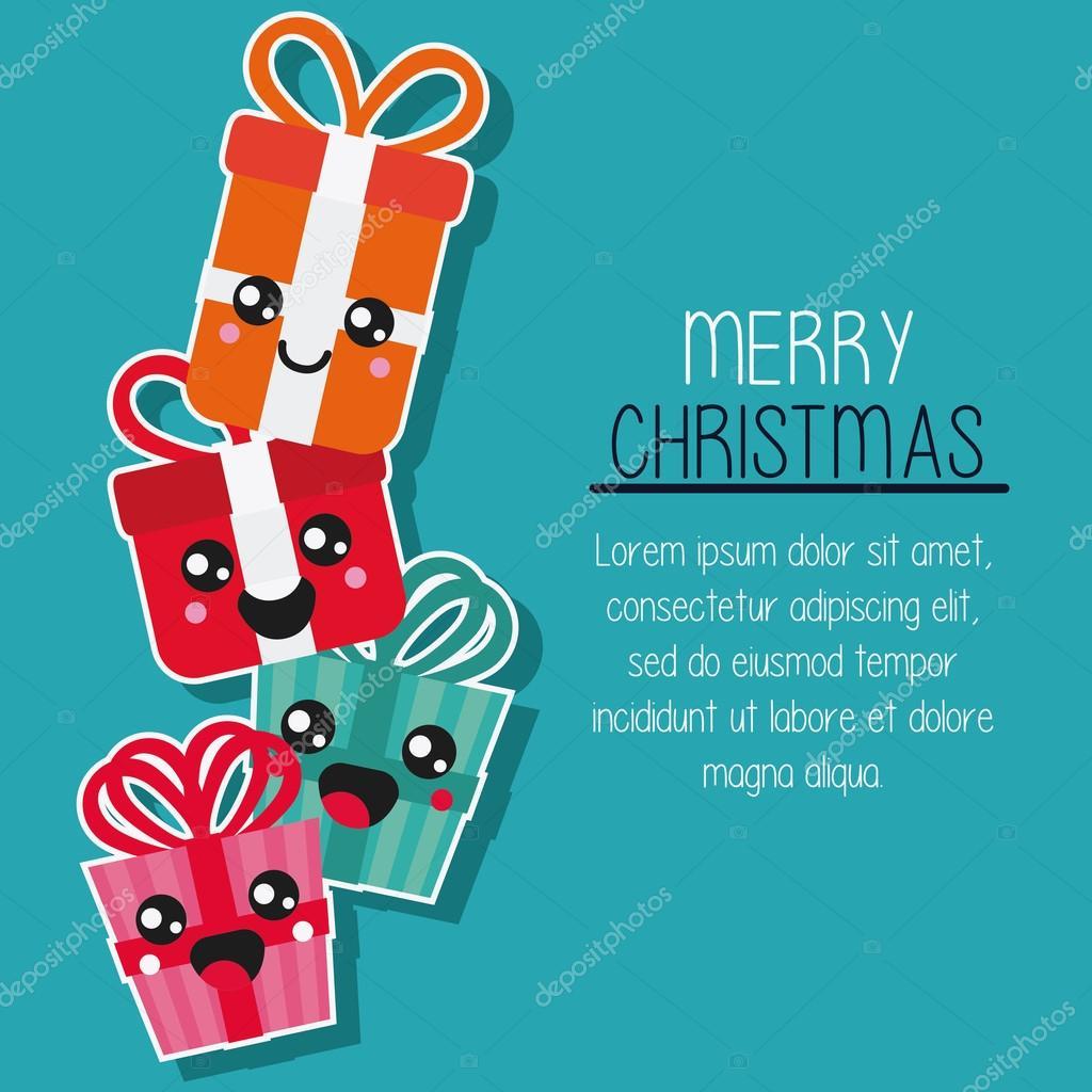 Cadeau Kawaii Joyeux Design De Noel Graphique Vectoriel