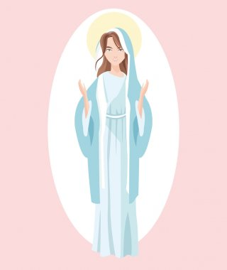 Holy mary religion icon. Vector graphic