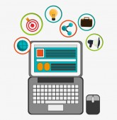 sada ikonu multimedia laptop sociální sítě médií. Vektorové grafiky