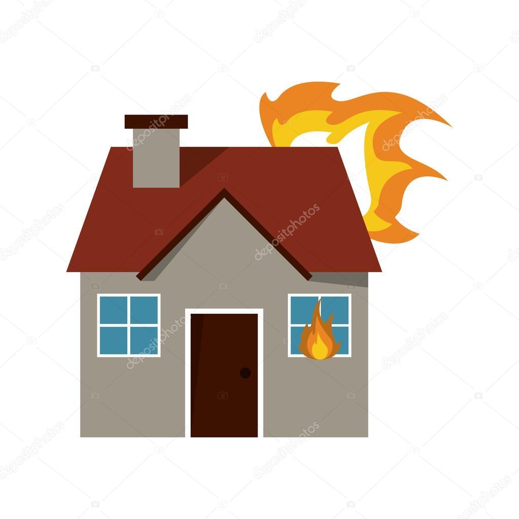 Картинка для детей дом в огне