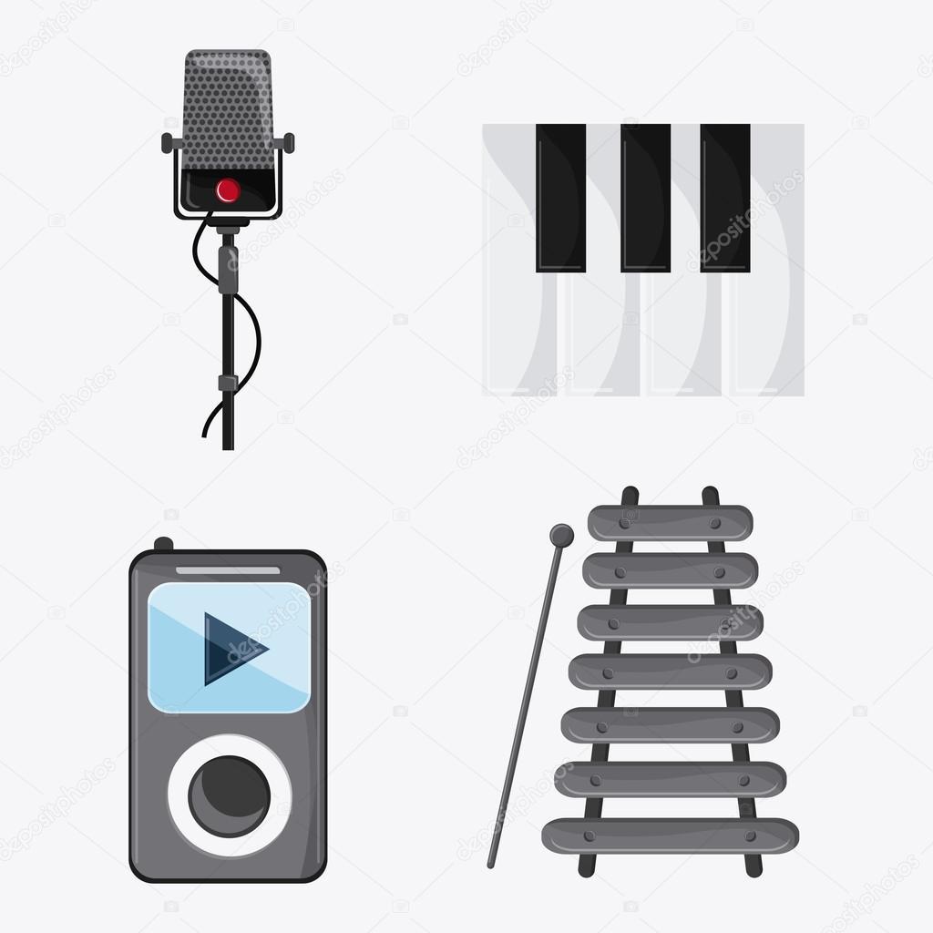 microphone piano mp3 music sound media festival icon  Vector gra